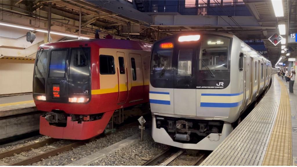 品川駅14番線に停車中の253系回送、15番線に到着するE217系15両編成(2021/7/10)