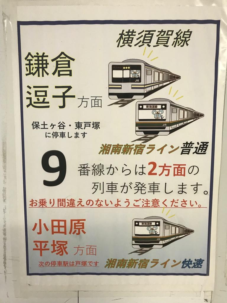 横浜駅9・10番線ホーム上に掲示されていた、横須賀線・東海道線の乗車案内ポスター(2019/10/22)