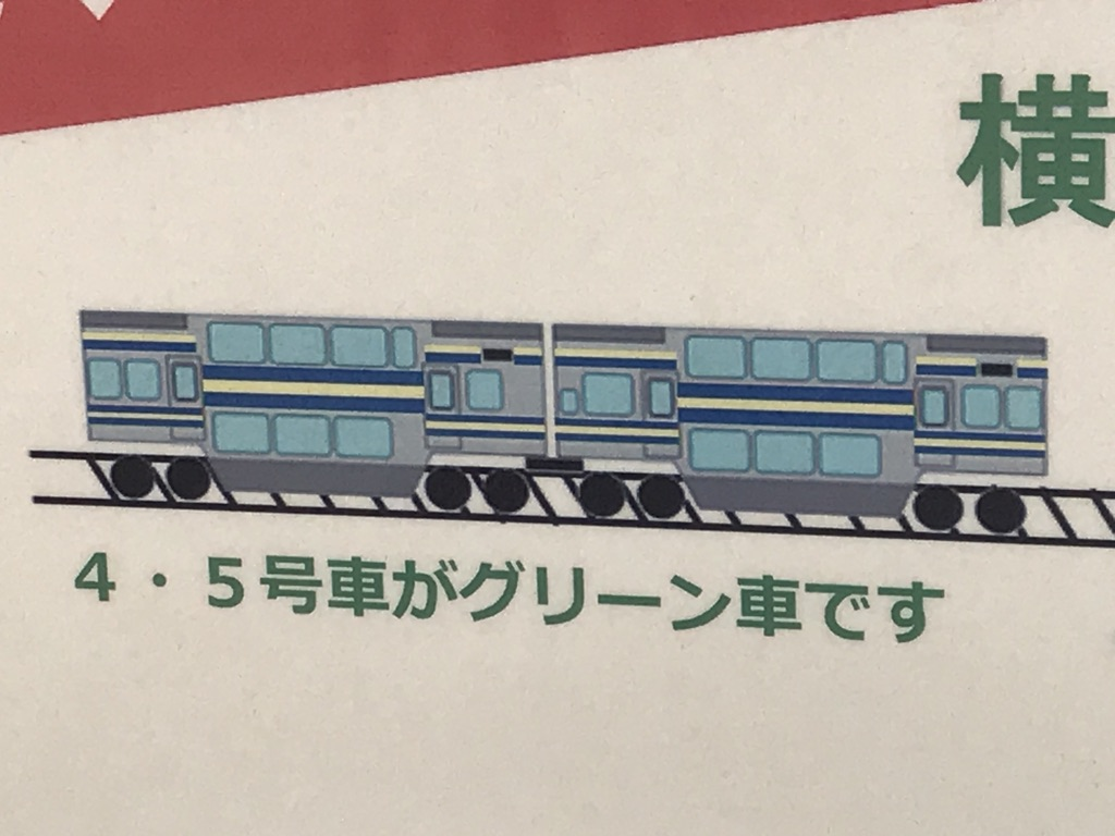 「乗るぜ、グリーン車。」ポスターに描かれているE217系横須賀線2階建てグリーン車側面(2021/1/16)