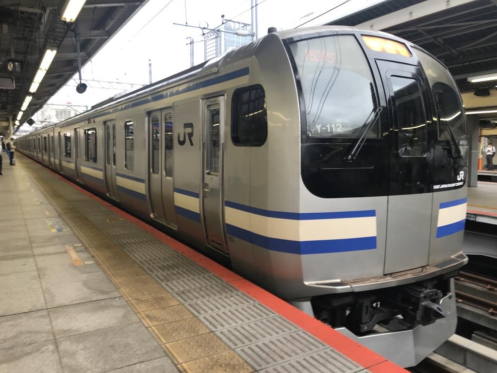 横浜駅9番線を発車するE217系横須賀線(2020/6/24)