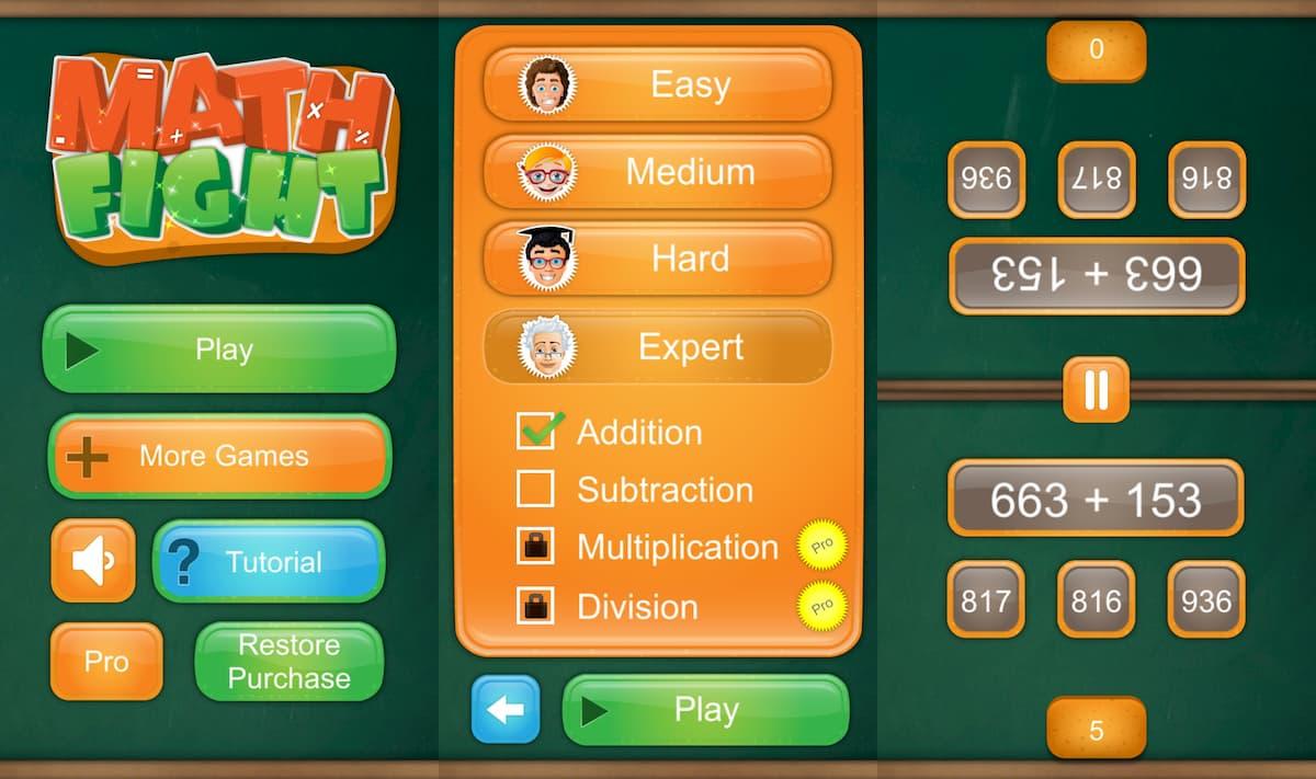 二人用ゲーム数学ゲーム、プレイ中の写真