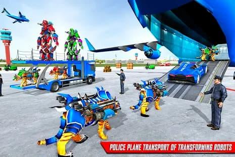247/5000 私たち警察虎ロボットゲーム:警察飛行機輸送 ゲームアプリ紹介画像