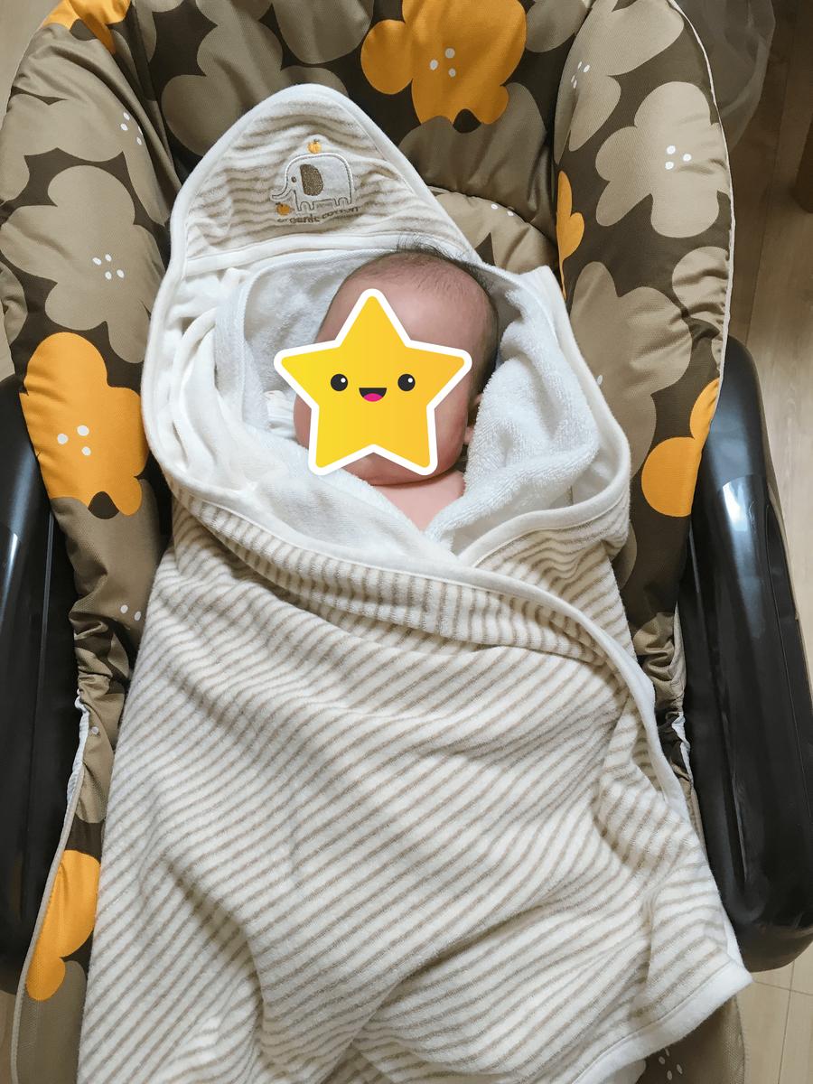 服を脱いだ状態でバスタオルとおくるみに包まる赤ちゃん