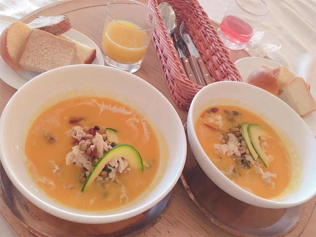 chano-maのランチメニュー カボチャと野菜の豆乳ポタージュ