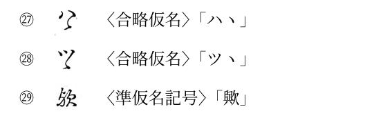 秀英五号(T02)の「準仮名記号」類γ