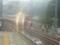 霧雨の中サンダーバードを回避する保線員