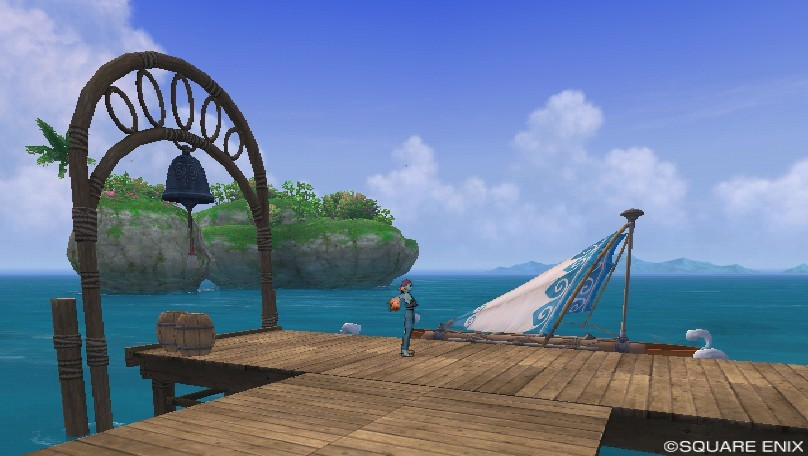 ミューズ海岸にあるラーディス王島行きの渡し舟