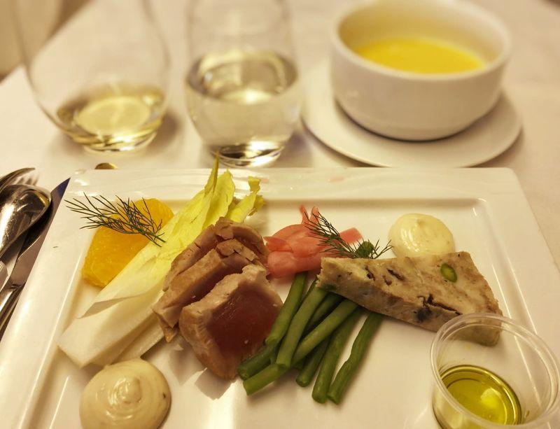 ANA全日空ビジネスクラスの機内食の前菜。ヨーロッパ便(イギリス)