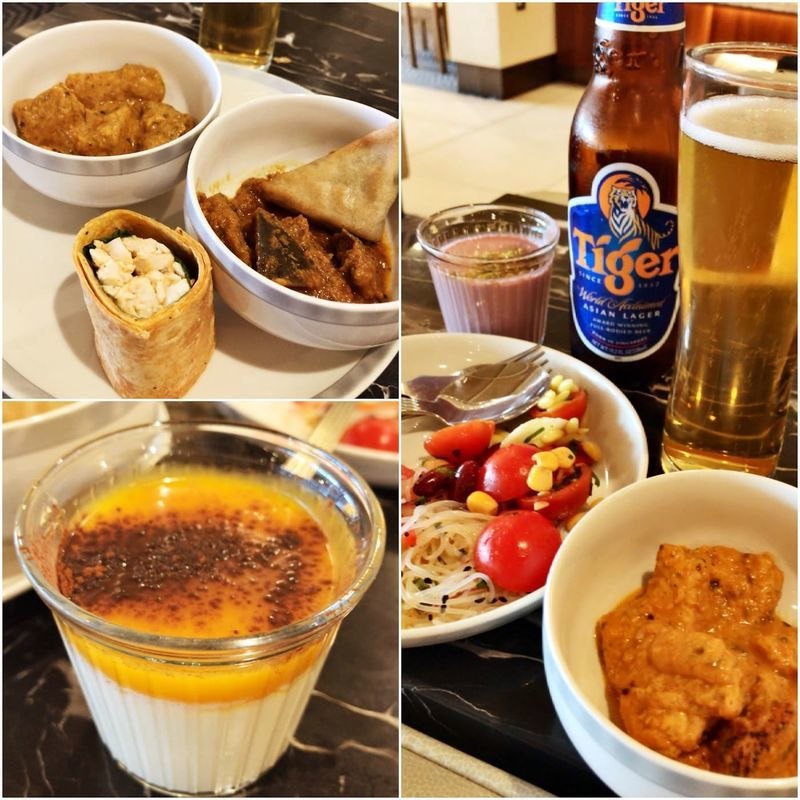 ロンドン・ヒースロー空港のシンガポール航空のラウンジの食事