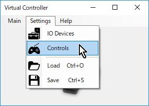 7-03.【Virtual Controller】メニュー→Settings→Controls