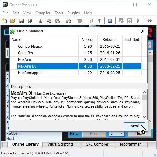 8-04.【Gtuner Pro】起動→【Gtuner Pro】メニュー→Plugins→Plugin Manager→【MaxAim DI】を選択→【Install】ボタン