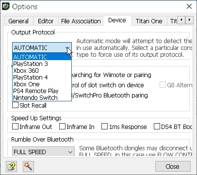 【「Gtuner Pro」メニュー】→【Tools】→【Options...】→【「Device」タブ】-2