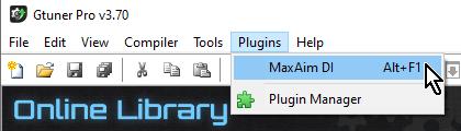 【Titan One】「Gtuner Pro」メニューの「Plugins」→「MaxAim DI」