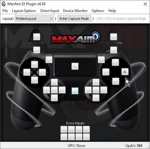 【Titan One】「MaxAim DI」で「PlayStationなら○ボタン/Nintendo SwitchならAボタン」にキーボード「A」を設定