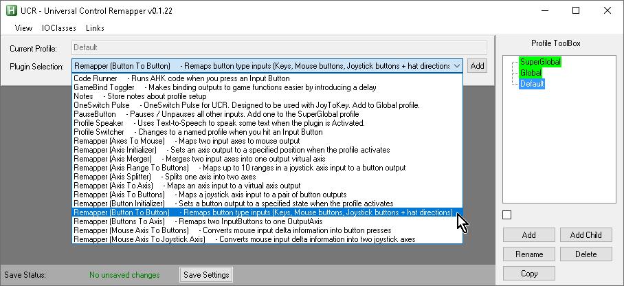 【Titan One】UCR(Universal Control Remapper)の「Plugin Selection」欄で「Remapper (Button to Button)」を選ぶ
