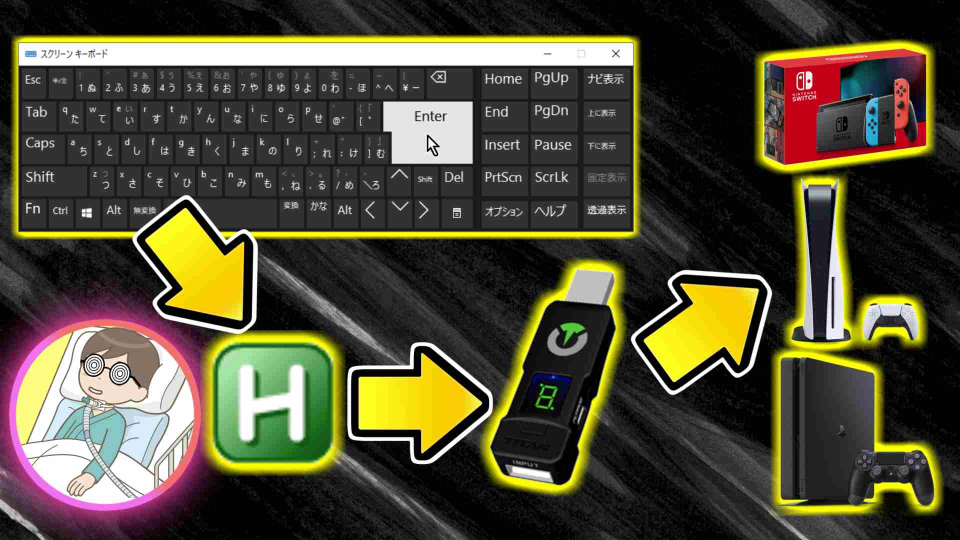 ブログ記事「Titan Oneをスクリーンキーボードで操作UCR編(Universal Control Remapper)」のサムネイル画像
