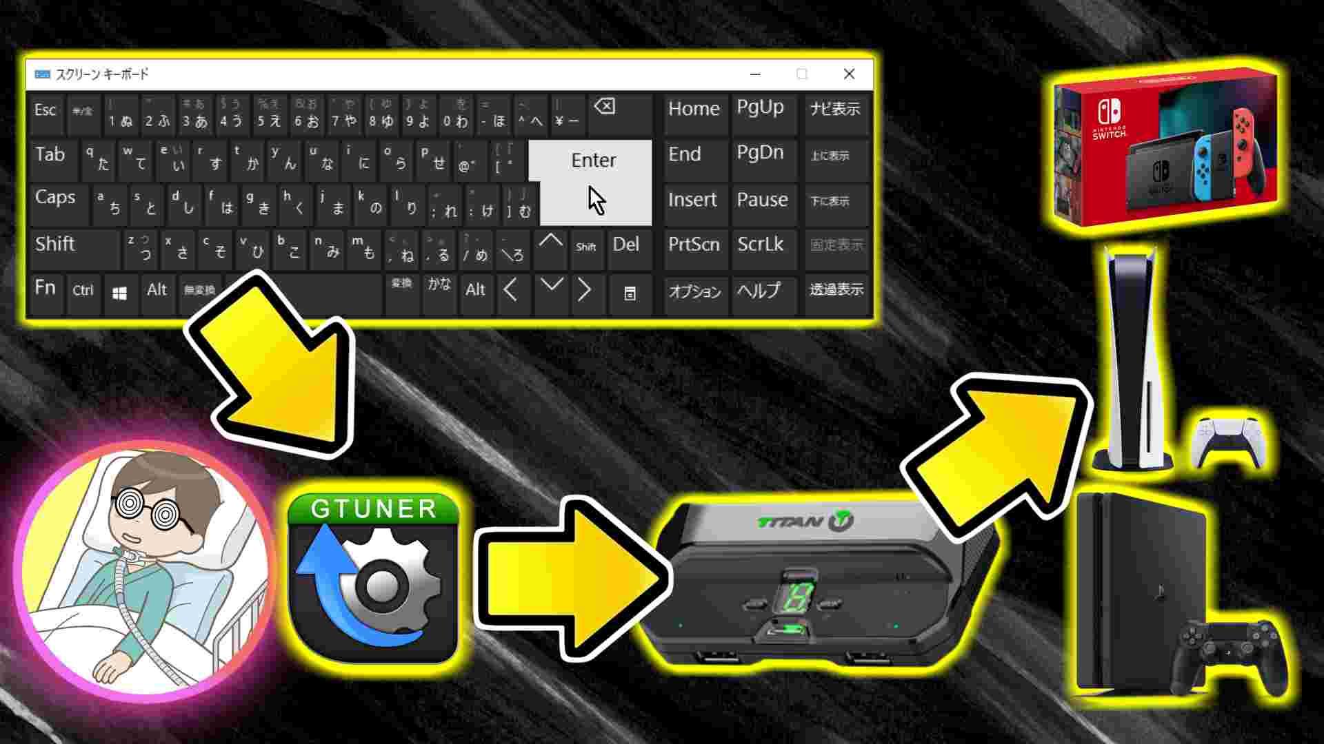 ブログ記事「Nintendo Switch/PS5/PS4をスクリーンキーボードとTitan Twoで操作(Titan Two純正アプリGtuner IVのKMG Capture機能)」のサムネイル画像