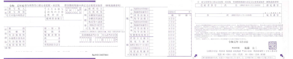住民税決定通知書(納税者用)