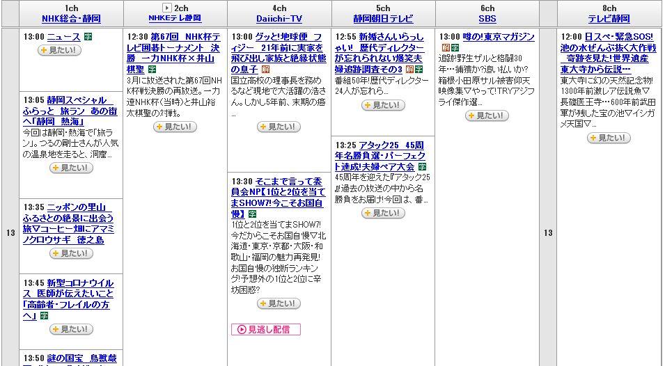 2020年5月17日のテレビ番組表(静岡県)