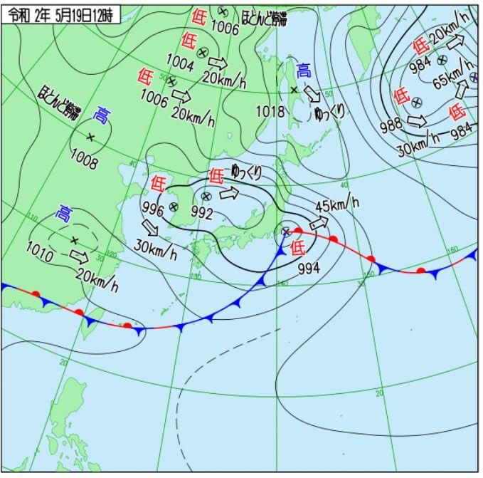 気象庁HPの天気図