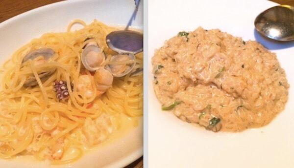 ウニと魚介のクリームソースパスタ