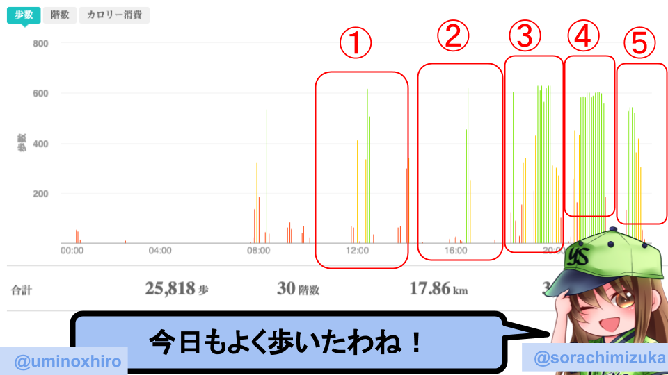 fitbitログより 運動データ