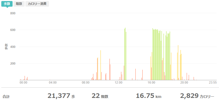fitbitログより 運動データ2020年5月9日分