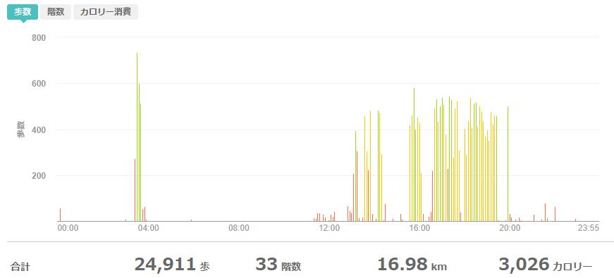 fitbitログより 運動データ2020年5月18日分