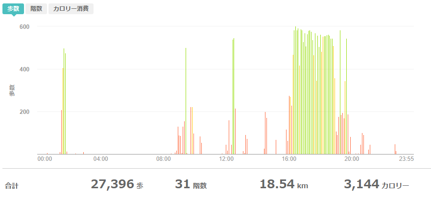 fitbitログより 運動データ2020年5月19日分