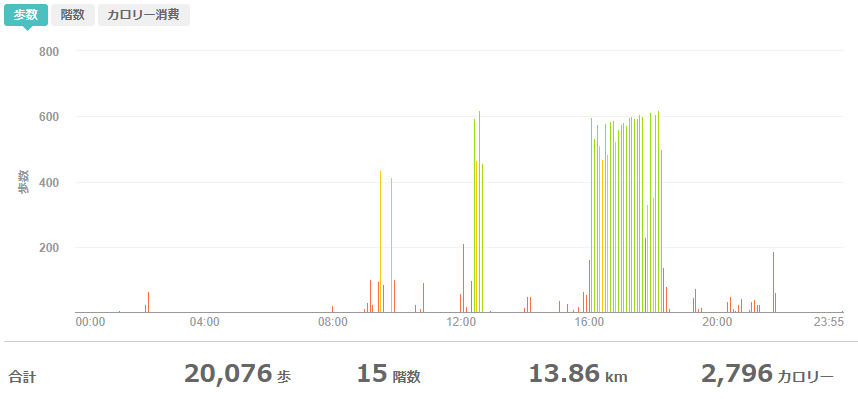 fitbitログより 運動データ2020年5月21日分