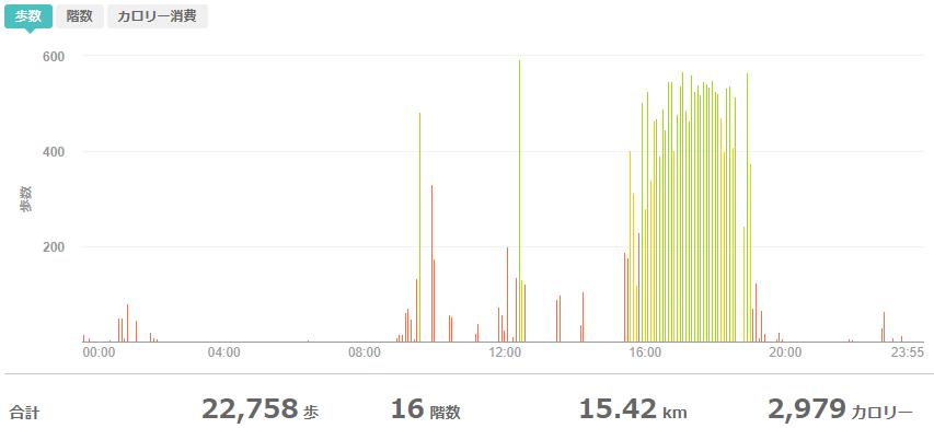 fitbitログより 運動データ2020年5月22日分