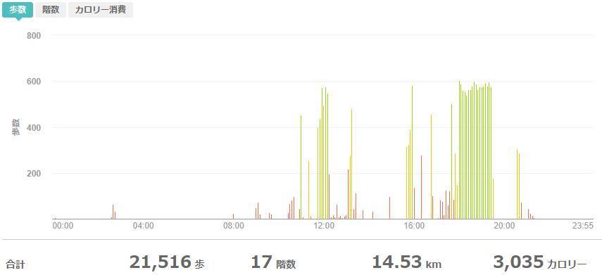 fitbitログより 運動データ2020年6月1日分