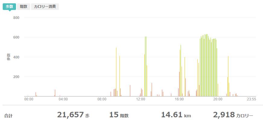 fitbitログより 運動データ2020年6月3日