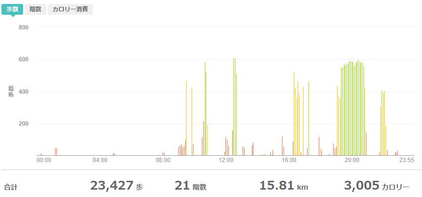 fitbitログより 運動データ2020年6月4日分