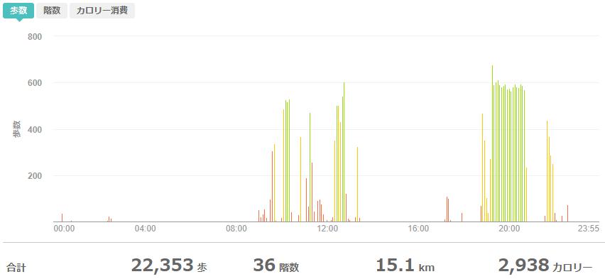 fitbitログより 運動データ2020年6月5日分