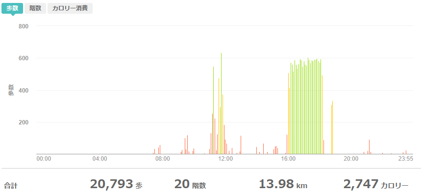 fitbitログより 運動データ2020年6月7日分