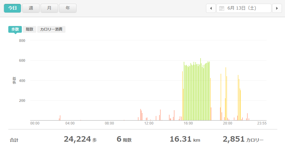 fitbitログより 運動データ2020年6月13日