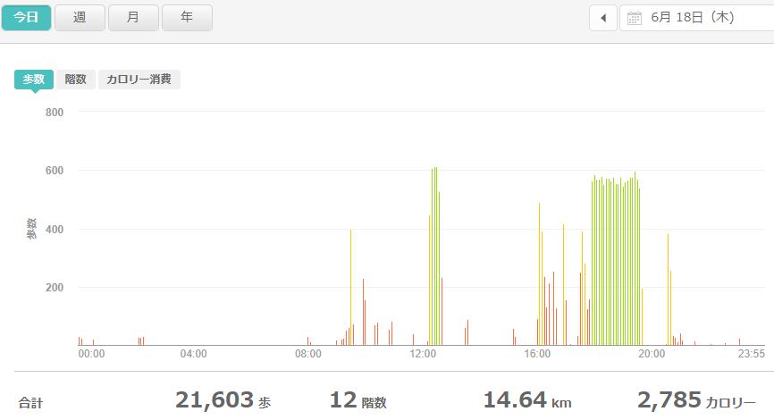 fitbitログより 運動データ2020年6月18日分