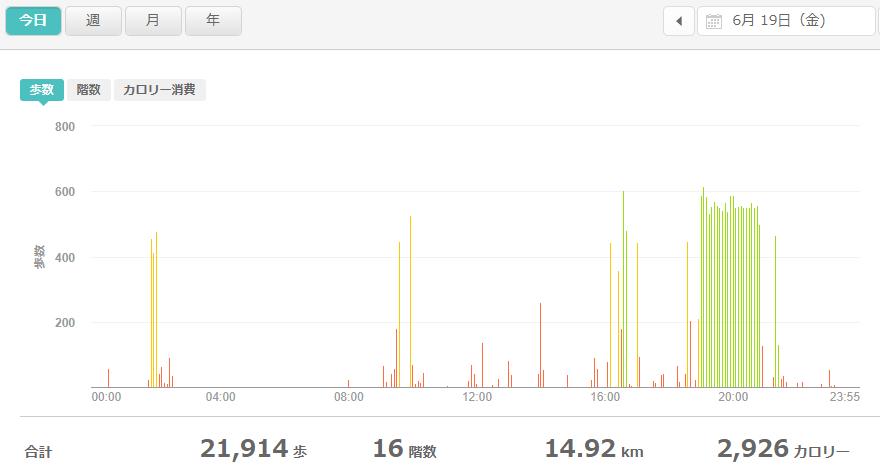 fitbitログより 運動データ2020年6月19日分