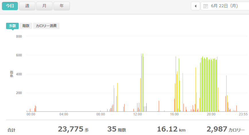 fitbitログより 運動データ2020年6月22日分