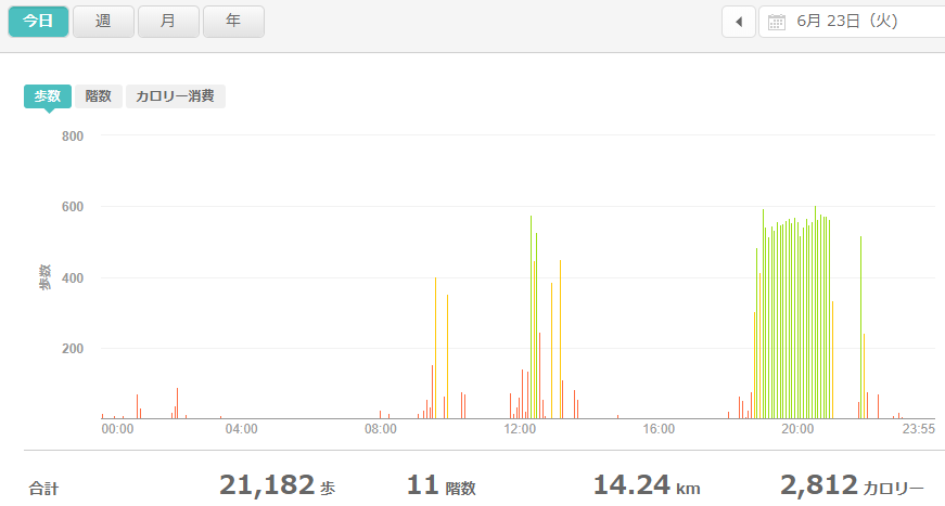 fitbitログより 運動データ2020年6月23日分