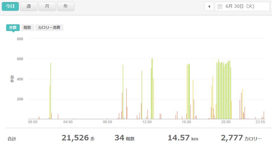 fitbitログより 運動データ2020年6月30日分