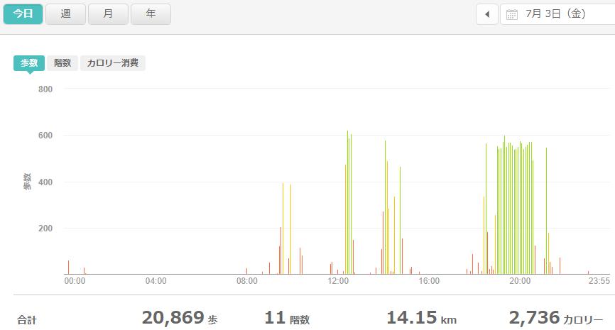 fitbitログより 運動データ2020年7月3日分