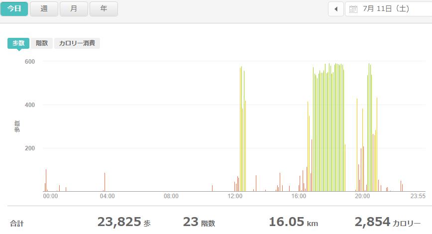fitbitログより 運動データ2020年7月11日分