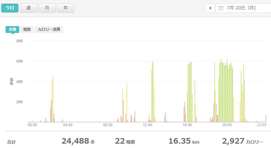 fitbitログより 運動データ2020年7月20日分