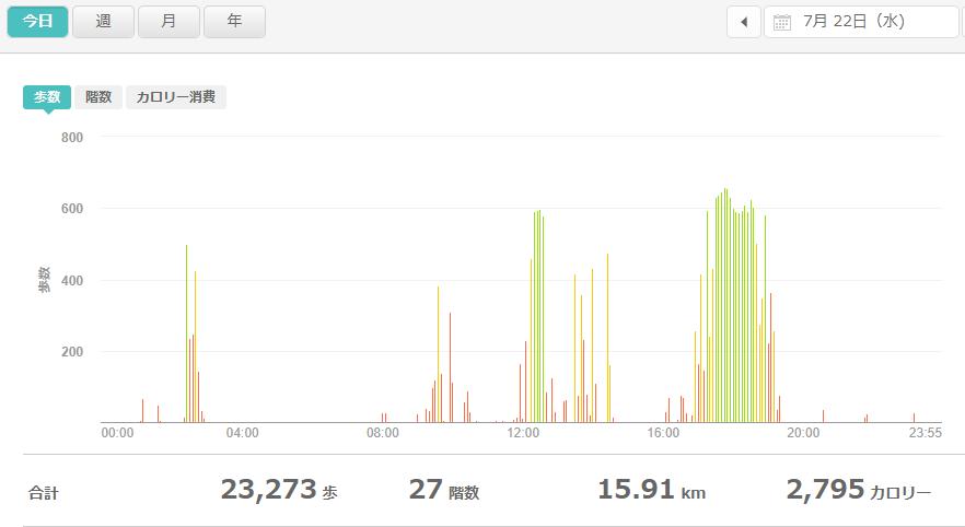 fitbitログより 運動データ2020年7月23日分