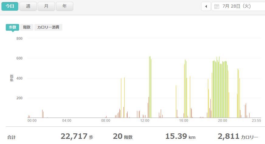 fitbitログより 運動データ2020年7月28日分