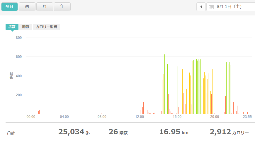 fitbitログより 運動データ2020年8月1日分