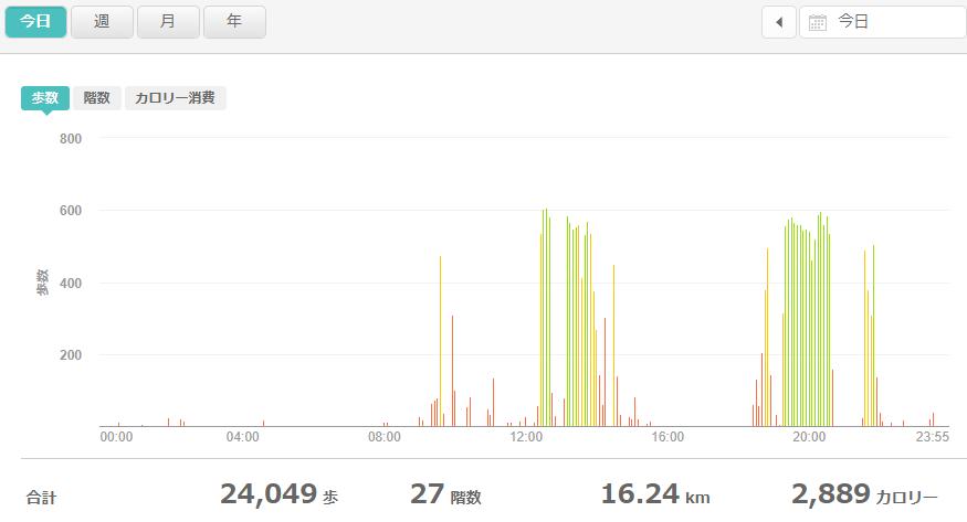 fitbitログより 運動データ2020年8月3日分