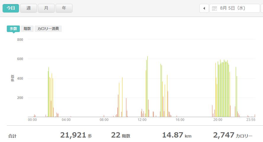 fitbitログより 運動データ2020年8月5日分